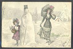 NT049 VK VIENNE 5371 New Year MOTHER & DAUGHTER SNOWMAN MISTLETOE