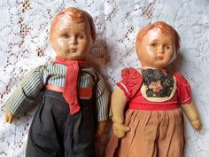 Pair Composition Vintage Antique Dutch Dolls Wooden by Putterpaws, $50.00