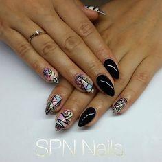 SPN UV LaQ 503 Black Tulip + mieszanka pastelowych kolorów :) Wzory malowane ręcznie Black Devil Paint Gel Nails by Alicja Koziołek , SPN Team