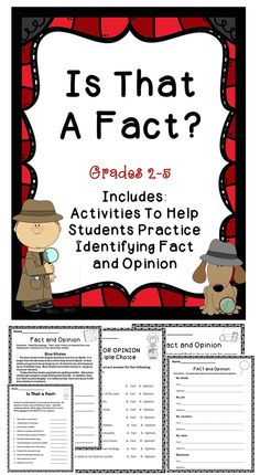 A fact and opinion activity book for elementary students. #tpt #literacy #rreading