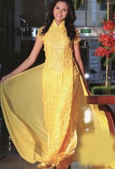 v-neck short-sleeved ao dai Ao Dai The needs of the dress are comfort, style, fit, color to set the mood and make it fun, and accessories to. Prom Dress 2013, Prom Dresses, Long Dresses, Vietnamese Traditional Dress, Traditional Dresses, Ao Dai Wedding, Asian Beauty, Glamour, Gowns
