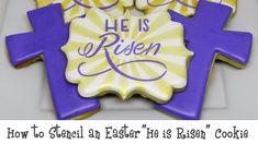Iced Sugar Cookies, Royal Icing Cookies, Christian Cakes, Cookie Designs, Cookie Ideas, Cross Cookies, He Is Risen, Easter Cookies, Cookie Decorating