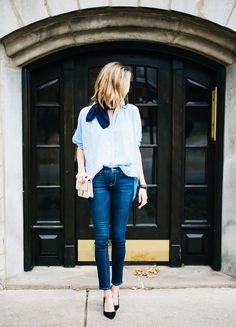 Add a printed neck scarf to a button down and pair with skinny jeans and pointed pumps.