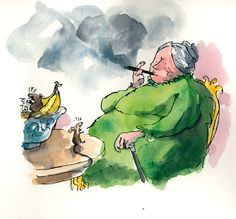 "Quentin Blake illustration from ""The Witches""."
