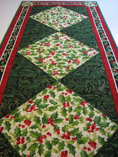 Quilted Christmas Table RunnerHolly Berries by VillageQuilts