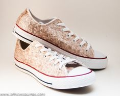 Champagne Gold Sequin Canvas Converse Canvas Low by princesspumps