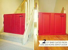 DIY baby gates from one $30 door   TheMombot.com