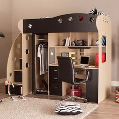 Real Home Inspiration: white bedroom furniture decor only on this page Bunk Bed With Desk, Loft Bunk Beds, Kids Bunk Beds, White Bedroom Furniture, Bedroom Decor, Office Furniture, Furniture Decor, Kids Beds With Storage, Bunker Bed