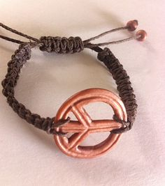 Peace Sign Adjustable Hemp Macrame Bracelet with by ShemshoDesigns