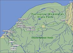 Map of WaterFalls in the Porcupine Mountains Marquette Michigan, Lake Michigan, Northern Michigan, Michigan Vacations, Michigan Travel, Michigan Waterfalls, Vacation Spots, Vacation Ideas, Vacation Trips
