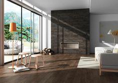 keramische bodenfliesen holzoptik kamin wohnzimmer beistelltische
