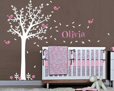 Baby Nursery Vinyl Wall Decals, One Color Tree and Birds with Custom Name Wall Decal Set