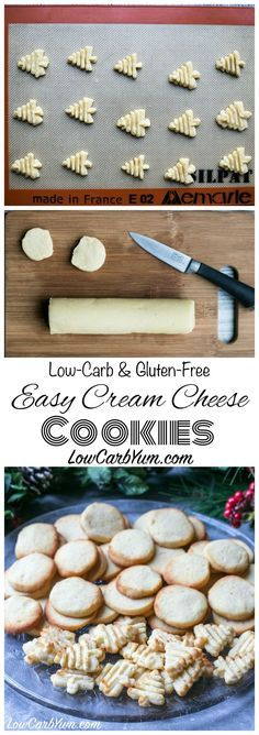 Yummy low carb and gluten free cream cheese cookies. These tasty sugar free cookies can be pressed or cut into festive shapes for any holiday. Keto LCHF Dessert Recipe