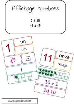 ma classe: affichage des nombres jusqu'à 19