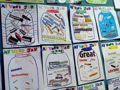 """My Word Jar"". Students cut out words from a magazine after reading Donovan's word jar to put in their "" Word Jar"""