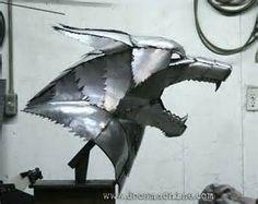 metal wolf head