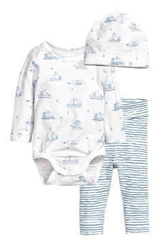 Body, spodnie i czapka - Biały/Łódki - Dziecko   H&M PL