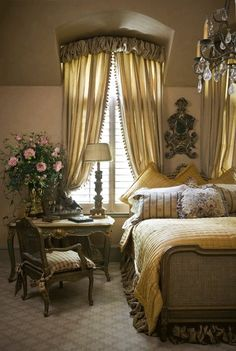 French master bedroom…warmed up with fabric by Nobilis for the draperies and bed skirt…Kim Brockinton @ Home Design Ideas French Master Bedroom, French Country Bedrooms, French Country Style, French Chic, Master Suite, Country Bedroom Design, Cottage Design, Dream Bedroom, Home Bedroom
