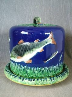Holdcroft Majolica Cheese Dome & Stand