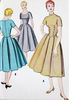 OMG, hostess dress in black w/ contrasting buttons --- 1950s Misses Dress Vintage Sewing Pattern by MissBettysAttic, $12.00