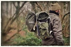 canvas rucksack and bedroll