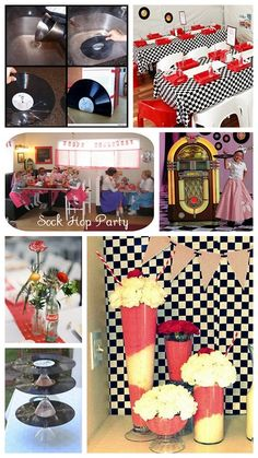 theme- What a great idea! Grease Themed Parties, 50s Theme Parties, Grease Party, Fifties Party, Retro Party, Sock Hop Party, Rockabilly Party, 60th Birthday Party, Anniversary Parties