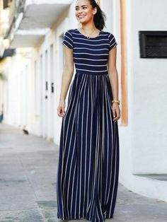 Evalisse Maxi Dress Navy and White - Ciuchy - Modest Fashion Modest Dresses, Modest Outfits, Modest Fashion, Cute Dresses, Casual Dresses, Fashion Dresses, Cute Outfits, Modest Clothing, Skirt Outfits