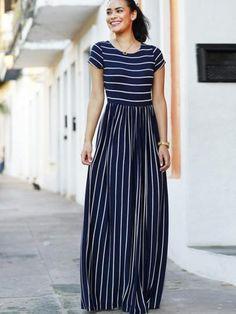 Stripe Color Block Ankle-Length Women's Maxi Dress