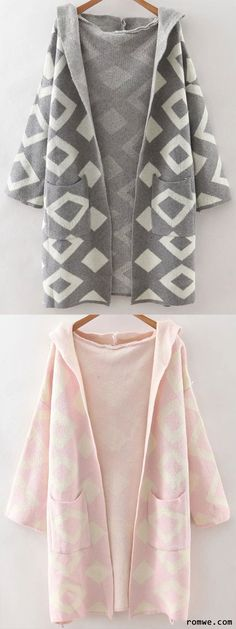 Pink & Grey Diamond Pattern Hooded Cardigan With Pockets