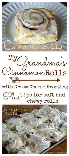 - Soft and Chewy Cinnamon Rolls Learn the secrets to a soft and chewy cinnamon roll. These rolls are one of my Grandma's most remembered and desired recipes. Cinnamon rolls smothered with cream cheese frosting! What could be better? Fun Desserts, Delicious Desserts, Dessert Recipes, Yummy Food, Rolls Recipe, Sweet Bread, Breakfast Recipes, Heathy Breakfast, Breakfast Pastries