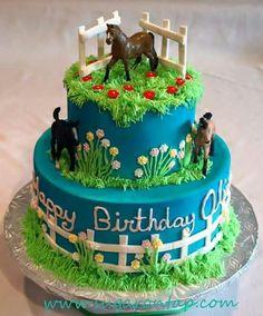 Pastel con caballos