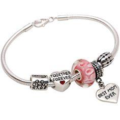 "ALOV Jewelry Sterling Silver ""I Love My Family"" ""Best Mom Ever"" Bead Charm Bracelet Best Gift For Mother's day,Birthday,Christmas Gift Love Mom Beaded Bracelet"
