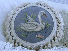 Vintage Needlepoint Swan Tuffet