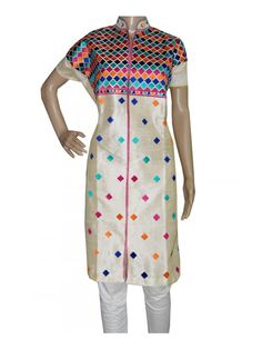 Silk Phulkari Kurti Beutiful Silk Phulkari Kurtis  New design with Modern Embroidery Work Choli Style  Silk Thread making kurtis look more attractive  Shop now ;  http://www.jankiphulkari.com/off-white-silk-phulkari-kurti-jksd1047