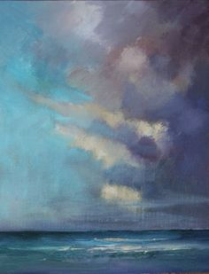 Daily Painters of Arizona: Clouds over the Atlantic, Beach and Ocean Paintings by Arizona Artist Amy Whitehouse