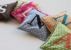 Beanbag letters! Perfect for a crafty name project - used now for baby to play with, and later to learn how to spell her name.