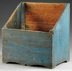 Circa The open pine firewood storage box in original vibrant blue paint with Cupid's bow-shaped base. CONDITION: Very good with expected wear, nice patina. Primitive Furniture, Primitive Antiques, Country Furniture, Antique Furniture, Painted Furniture, Furniture Design, Wood Storage Box, Firewood Storage, Reclaimed Wood Projects