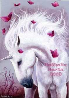 ACEO Limited Edition PRINT Unicorn Horse Butterfly Pink Fantasy ART