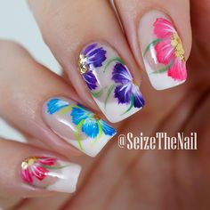 Unique and lovely summer nail art ideas! Pick your next nail art design! Nail Art Designs, Fingernail Designs, Flower Nail Designs, Flower Nail Art, Beautiful Nail Designs, Beautiful Nail Art, Pedicure Nail Designs, Great Nails, Fabulous Nails
