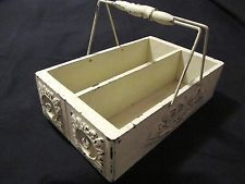 Vtg Repurposed Wood Tote Sewing Machine Drawer Carrier Chipping Cottage AAFA