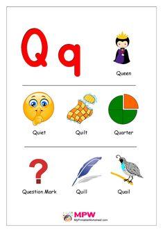 Things that start with Q Alphabet Preschool Charts, Printable Preschool Worksheets, Preschool Learning Activities, Alphabet Activities, Tracing Worksheets, Alphabet Words, Alphabet Phonics, Alphabet Pictures, Preschool Alphabet