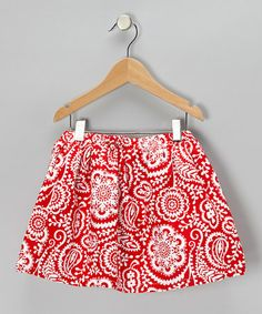 Take a look at this Red & White Delight Paisley Skirt - Infant, Toddler & Girls by Waistin' Away on #zulily today!