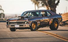 Wallpaper Msucle car, on road, Classic Chevrolet Nova SS