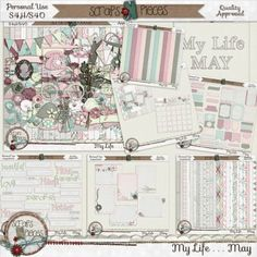 """""""April showers bring May flowers…"""" and May's installment of the My Life series is all about those flowers. The pastel color palette draws upon the pinks, greens, and creams of this beautiful month. This kit is packed full of floral elements, patterned papers, and journal cards. Sugary solids, cutesy doodled elements, and a classic white alpha add a touch of sweetness to this kit. The featured word art this month draws upon the best parts of May: playing outside and Mother's Day. Other…"""