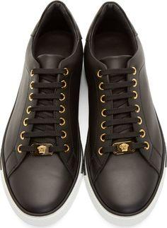 Versace Black Matte Leather Sneakers