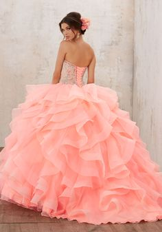3cb3656189295 Jeweled Beading on a Flounced Organza Ballgown   Vizcaya Style 89126    Classic Quinceañera Ballgown Combines