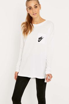 Shop Nike Signal Long Sleeve White T-shirt at Urban Outfitters today. White Long Sleeve, Graphic Sweatshirt, T Shirt, Urban Outfitters, Sportswear, Crew Neck, Nike, Sweatshirts, Sleeves