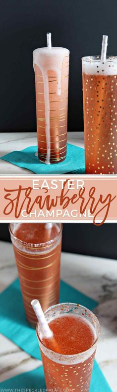 Easter brunch never looked so good! Rosé Champagne mixes with strawberry simple syrup to create these pink Easter Strawberry Champagne cocktails. #recipe #brunch #cocktail