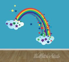 Wall Sticker Studio wall decals are ultra-premium polyester-fabric matte wall decals that can be removed, repositioned and reused again and Rainbow Wall Decal, Rainbow Bedroom, Garden Mural, Kids Room Murals, Room Stickers, Butterfly Wall Stickers, Wall Decal Sticker, Little Girl Rooms, Decoration