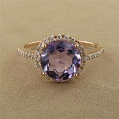 14K Rose Gold Amethyst & Diamond Round Ring